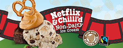 Netflix and Chilll'd Header - 3 cows on a couch watching Netflix and Chilll'd flavor name projected onto the night sky